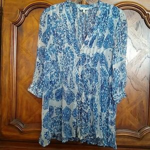 Joie blue & white silk chiffon pleated blouse XS